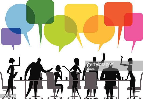 ilustraciones, imágenes clip art, dibujos animados e iconos de stock de ilustración vectorial de reuniones - determinación