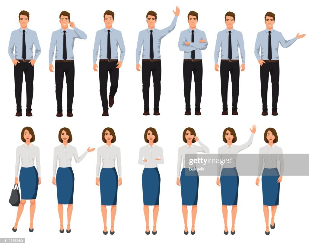 Vector illustration of men and women in official clothes. Cartoon realistic people set.Presentation pose.Worker with hand up. People with phone in one hand. Walking people.