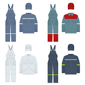 Vector illustration of men s overalls. Clothes in denim style, white, blue. Uniform for a worker, mechanic, driver, loader, mechanic.
