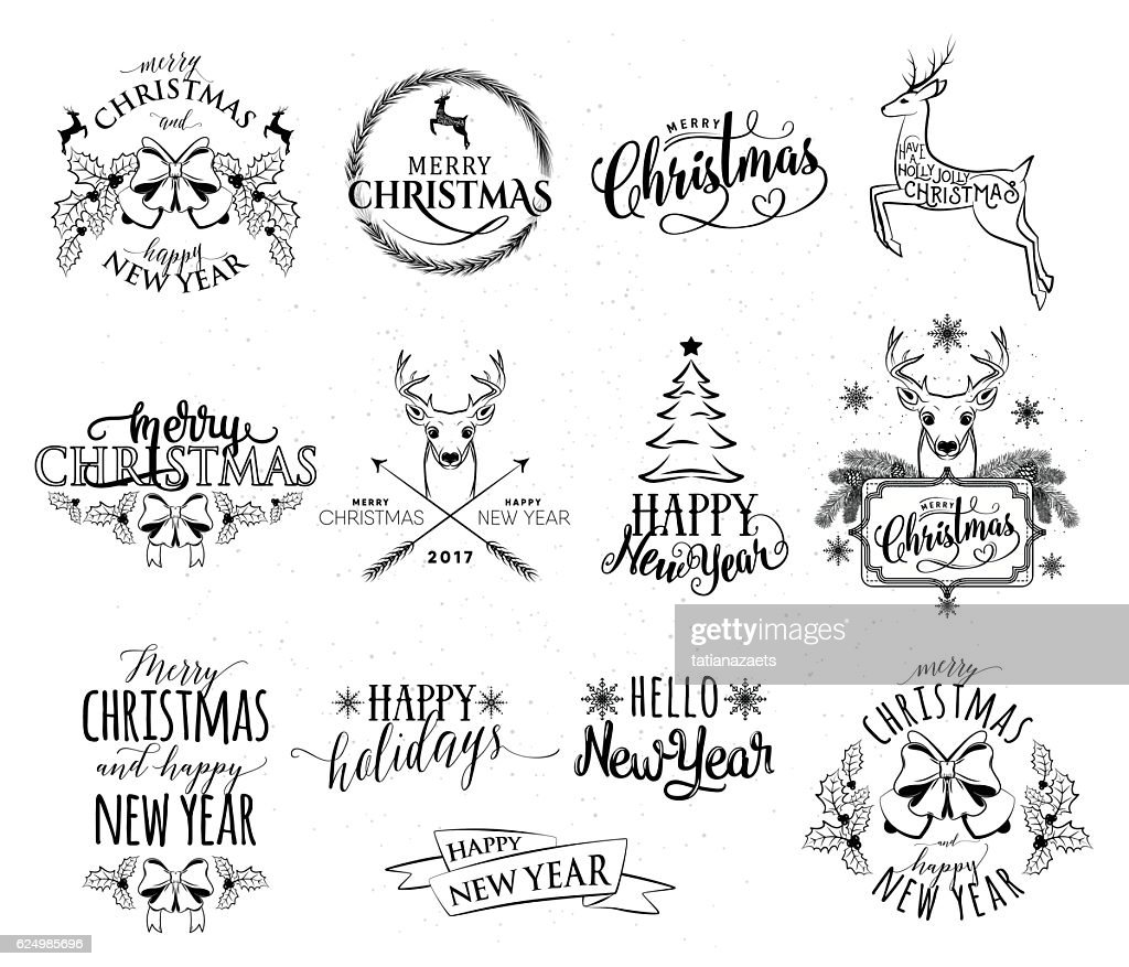 Vector illustration of Merry Christmas and Happy New Year set