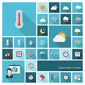 Vector illustration of meteo flat colored icons with long shadow