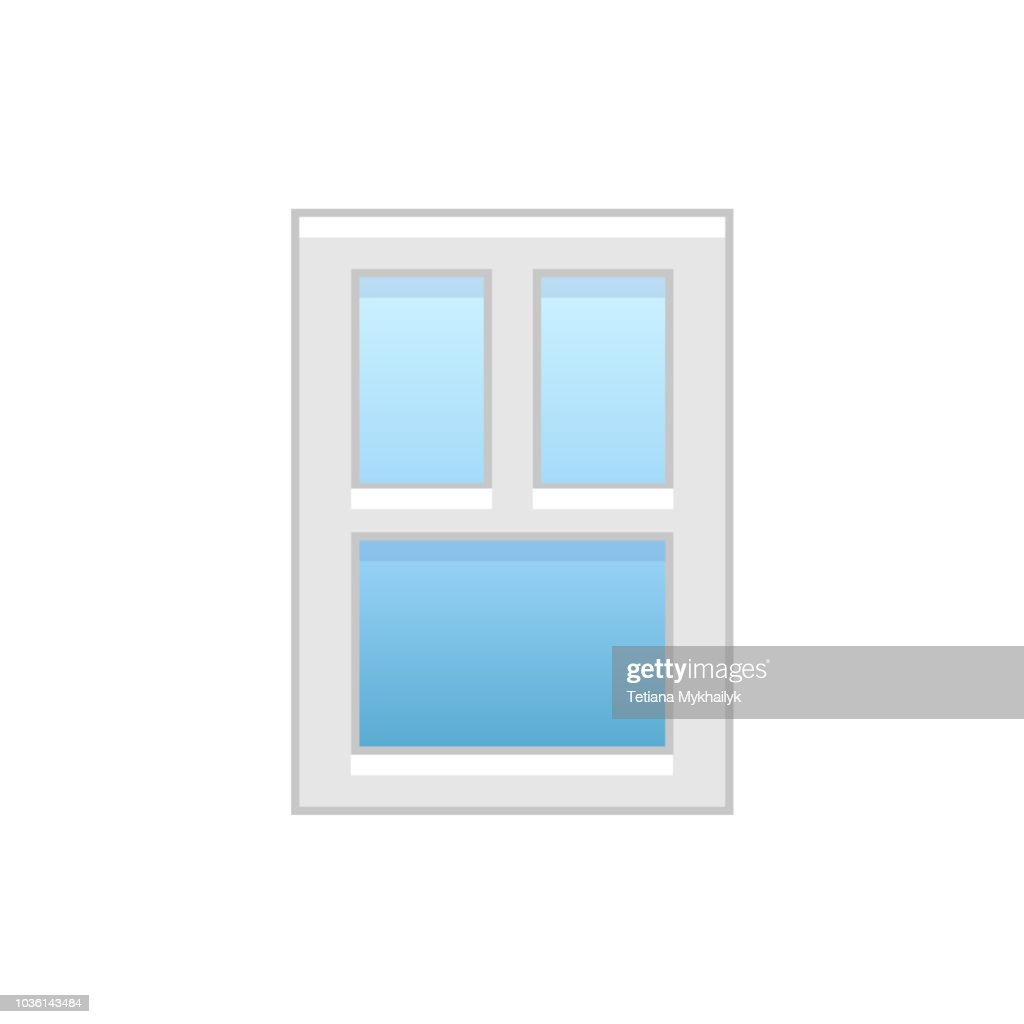 Vector illustration of modern vinyl casement window. Flat icon of aluminum window with 3 movable panels. Isolated on white background.
