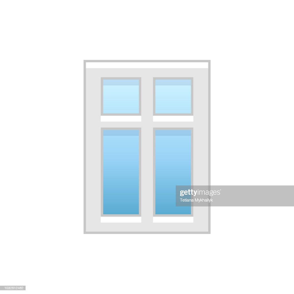 Vector illustration of modern vinyl casement window. Flat icon of aluminum window with 4 movable panels. Isolated  on white background.