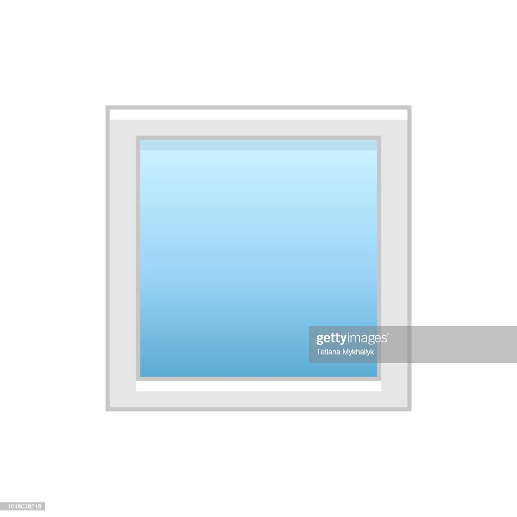 Vector illustration of modern vinyl picture window. Flat icon of large aluminum window for house & office. Isolated on white background.