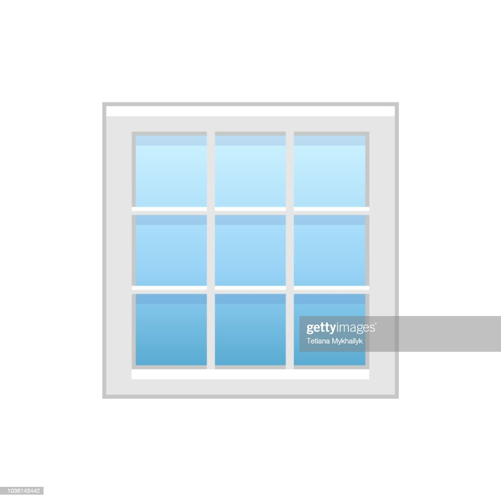 Vector illustration of modern vinyl square window. Flat icon of large aluminum casement window for house & office. Isolated on white background.