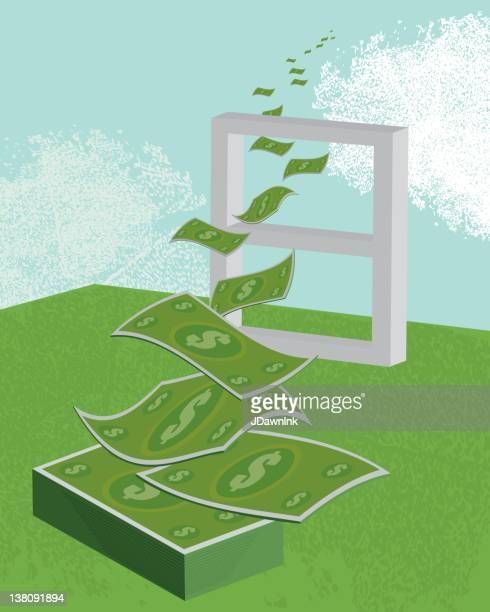 vector illustration of money flying out the window - money out the window stock illustrations, clip art, cartoons, & icons