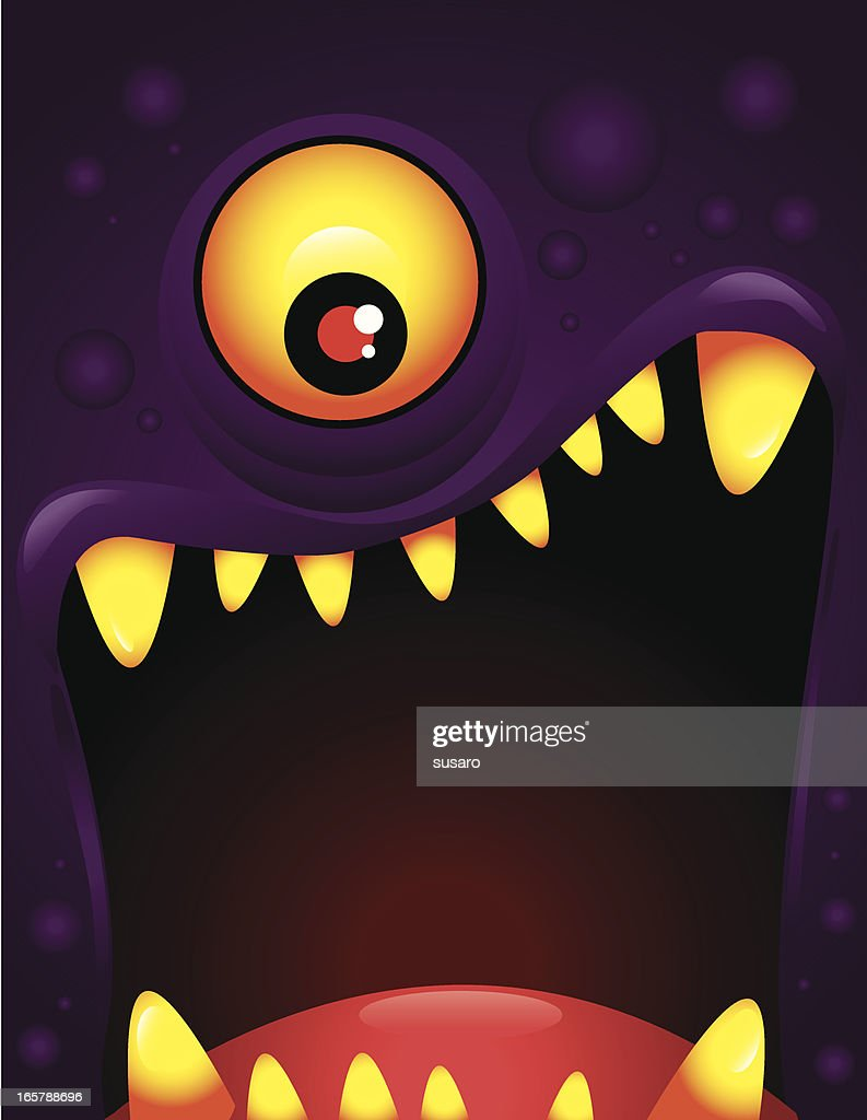 Vector illustration of monster with open mouth : stock illustration