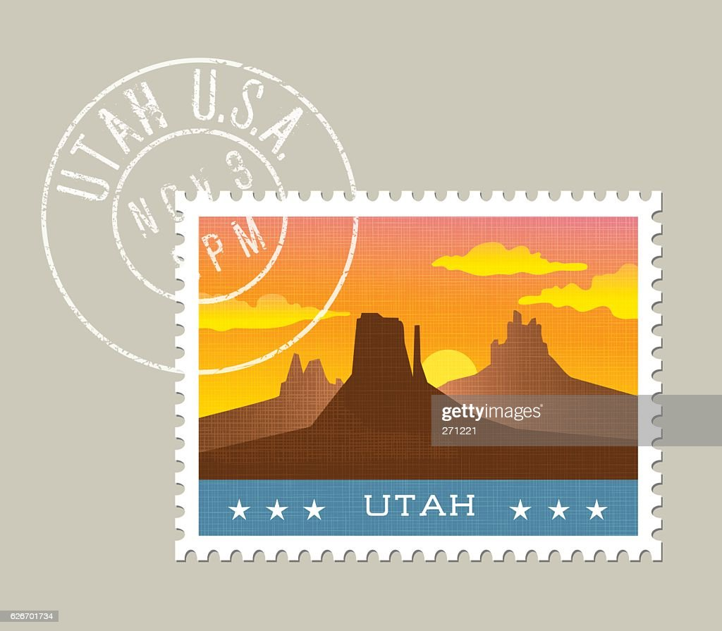 Vector illustration of monument valley at sunset, Utah