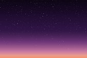 Vector illustration of morning or evening starry sky with sunrise or sunset