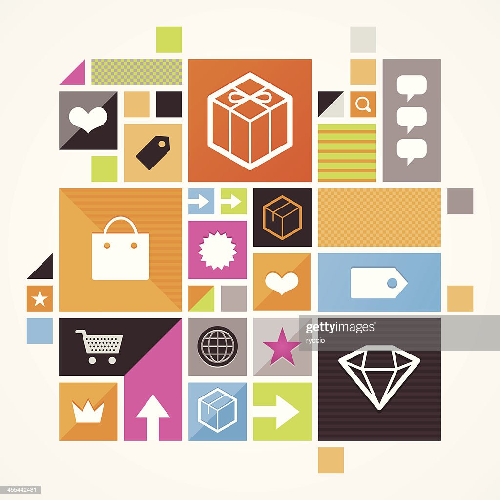 Vector illustration of mosaic icons