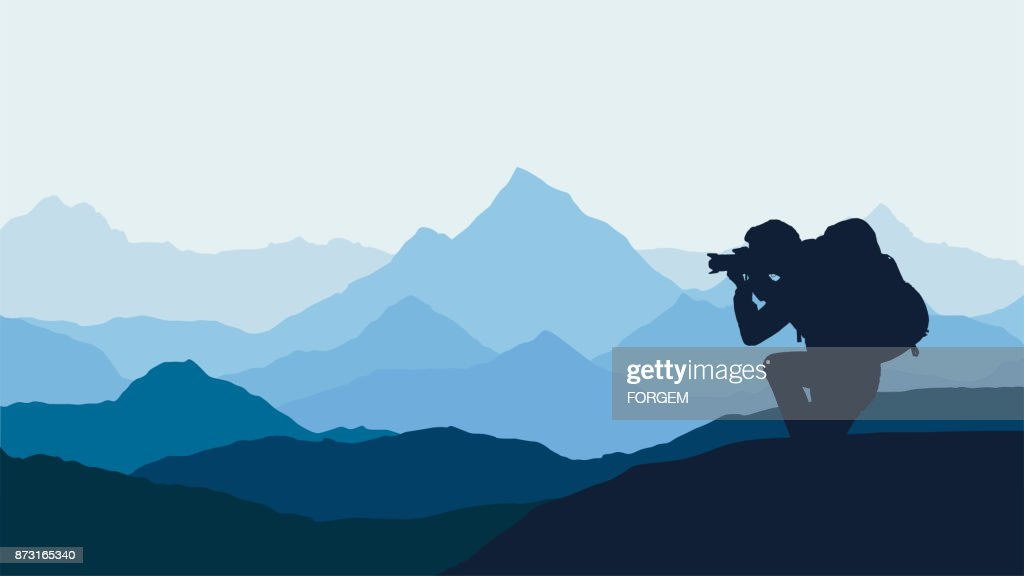 Vector illustration of mountain landscape with forest and photographer under orange sky with clouds and flying birds