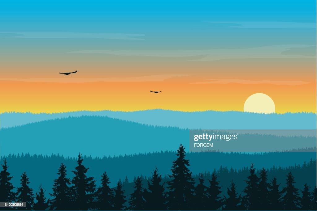 Vector illustration of mountain landscape with forest in fog under morning orange sky with rising sun, clouds and flying birds