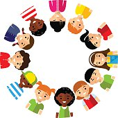 Vector illustration of multicultural children