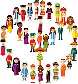 Vector illustration of multicultural national children, people on planet earth