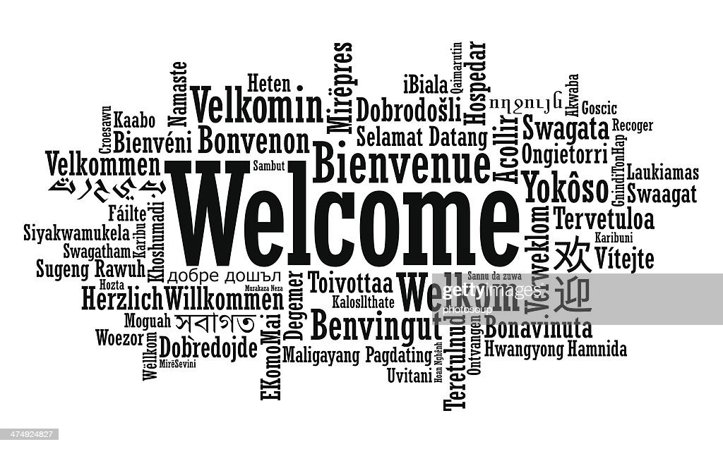 Vector illustration of multilanguage welcome cloud