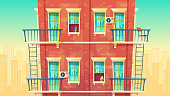 Vector illustration of multi-storey apartment, house outside concept, private building. Architecture promo background