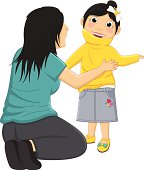 Vector Illustration Of Mum Helping Daughter Wearing Her Clothes