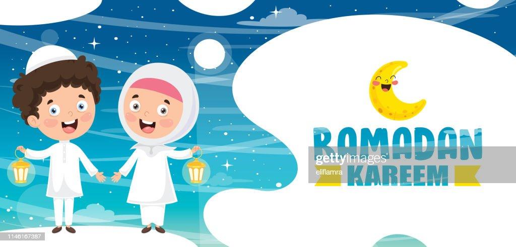 Vector Illustration Of Muslim Kids Celebrating Ramadan