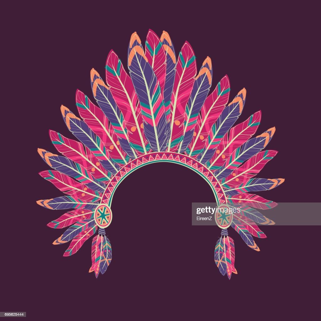 Vector illustration of native american indian chief headdress