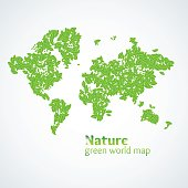 Vector illustration of Nature green map of the world with leaves on a white background. Bright poster on eco theme