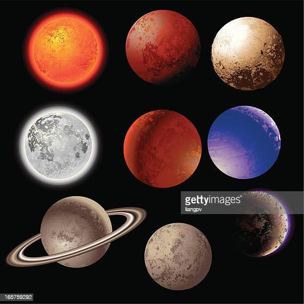 vector illustration of nine planets over a black background - neptune planet stock illustrations
