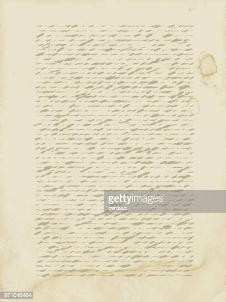 ilustrações, clipart, desenhos animados e ícones de ilustração em vetor de papel velho calligraph - correio correspondência