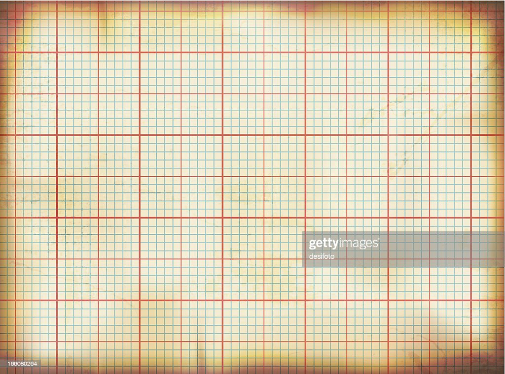 Vector illustration of old grunge graph paper : stock illustration