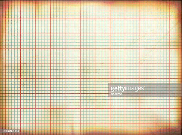 Vector illustration of old grunge graph paper