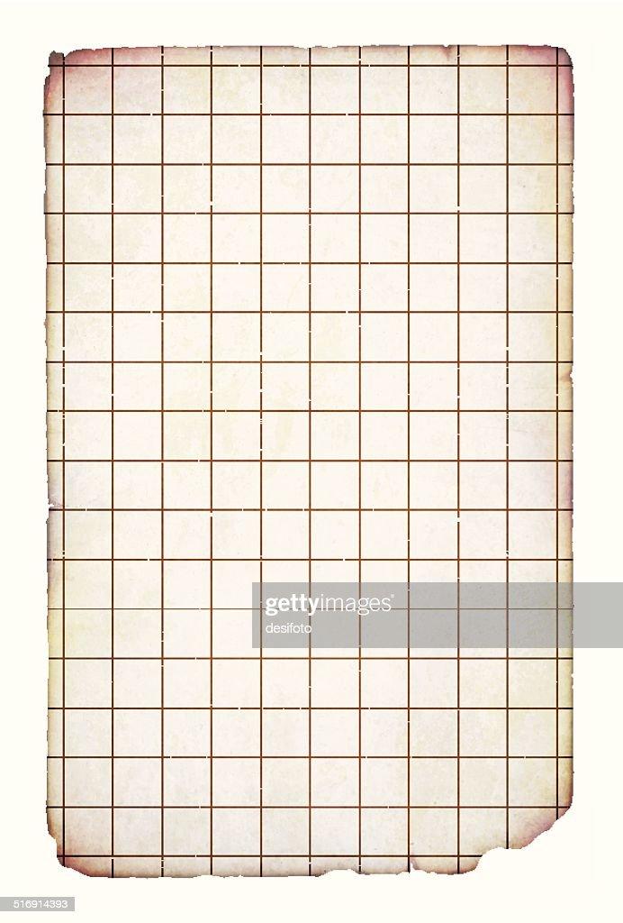 Vector illustration of old grunge graph paper : stock illustration