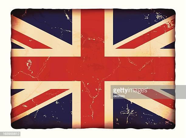 Vector illustration of old grunge paper UK flag.