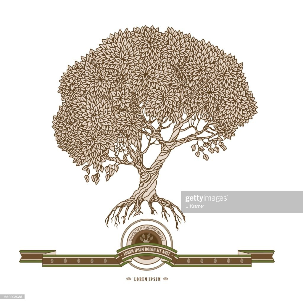 Vector illustration of old hand drawn tree, ribbon and label on a white background. Brown and beige colors, retro style.Arbor Day invitating card, badge design, nature sigh, ecology cincept, book cover