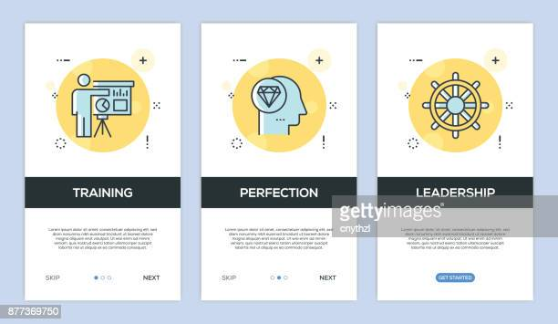 vector illustration of onboarding app screens and web concept with training-perfection-leadership screen flat line style - retail employee stock illustrations