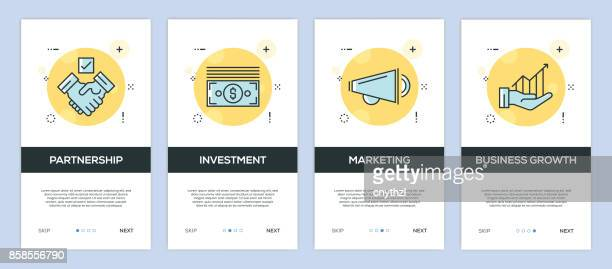 Vector Illustration of onboarding app screens Business for mobile apps in flat line style