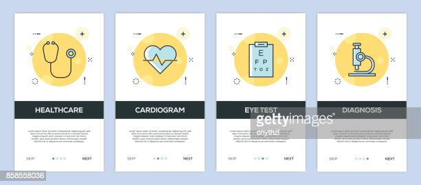 vector illustration of onboarding app screens healthcare and medical for mobile apps in flat line style - surgeon stock illustrations