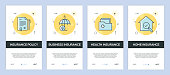 Vector Illustration of onboarding app screens Insurance for mobile apps in flat line style
