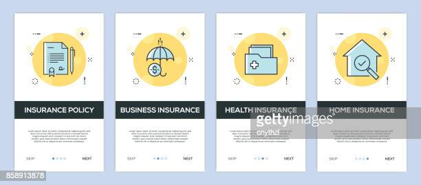 vector illustration of onboarding app screens insurance for mobile apps in flat line style - shooting a weapon stock illustrations, clip art, cartoons, & icons