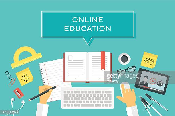 vector illustration of online education - exercise book stock illustrations