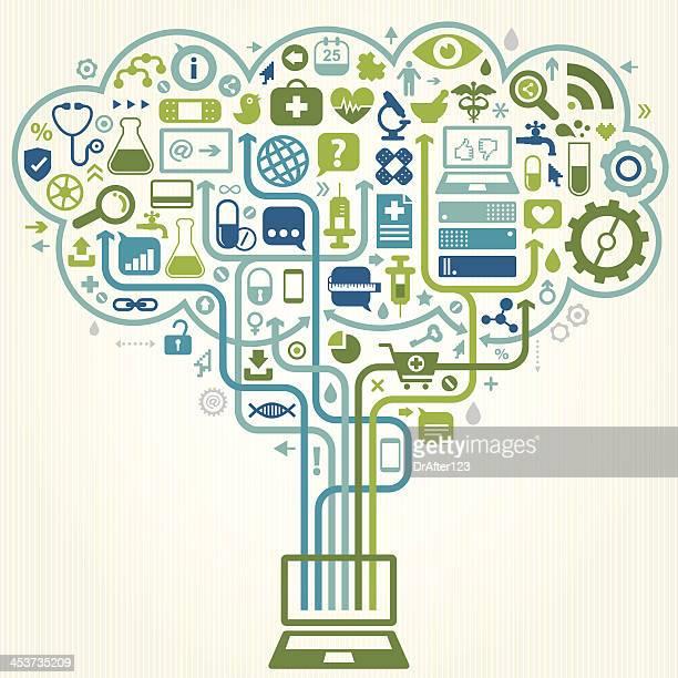 Vector illustration of online e-health concept