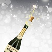 Vector illustration of opened bottle of champagne or sparkling wine with a cork and splash in photorealistic style. A realistic object on a shine white background. 3D Realism.