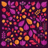 Vector illustration of orange and red tree leaves isolated