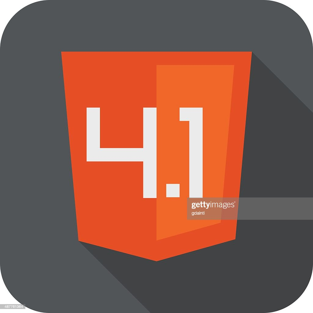 Vector illustration of orange shield with old html four point