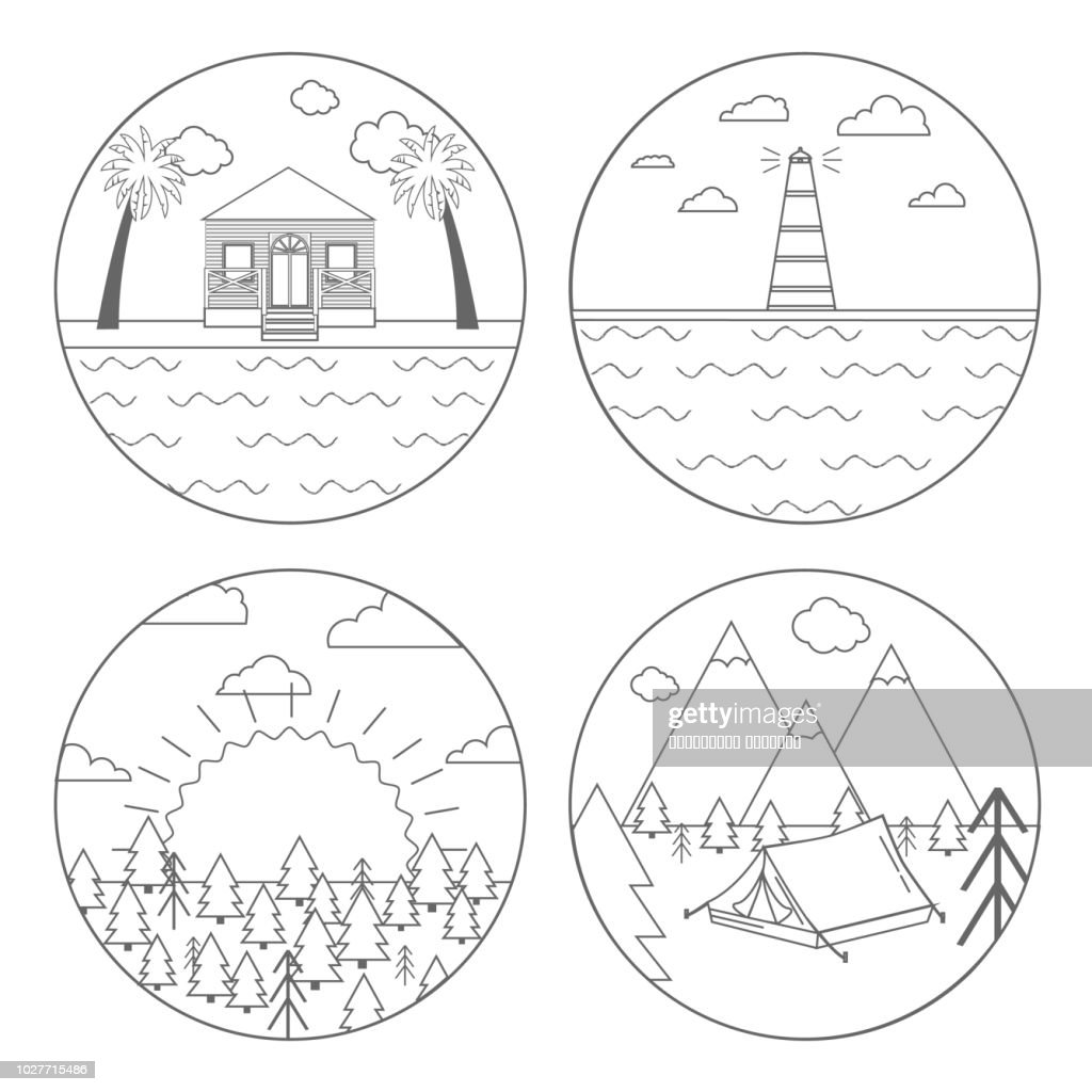 Vector illustration of outdoor activity symbol for campers, hiking. Set of four circle icon or logo in line style, Isolated.