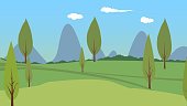 Vector illustration of outdoor grassland forest background material
