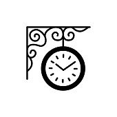 Vector illustration of outdoor wall hanging clock. Flat icon of vintage round garden clock with forged decor. Isolated object on white background.