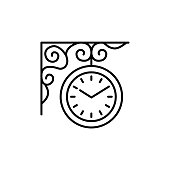 Vector illustration of outdoor wall hanging clock. Line icon of vintage round garden clock with forged decor. Isolated object on white background.