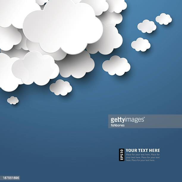 vector illustration of paper clouds - cloudscape stock illustrations, clip art, cartoons, & icons