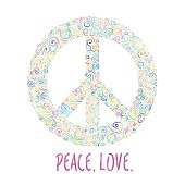 Vector illustration of peace sign. Template for International Peace Day.