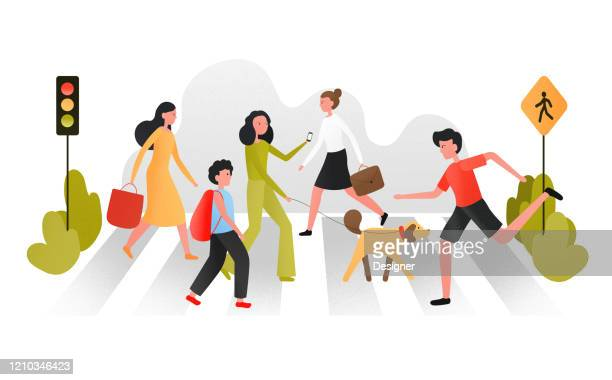 vector illustration of pedestrians people walking on city street. men and women characters concept - pedestrian stock illustrations