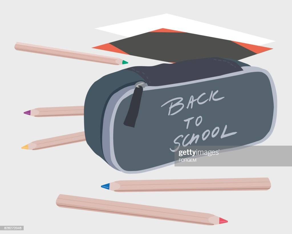 Vector illustration of pencils and school case with the inscription Back to school