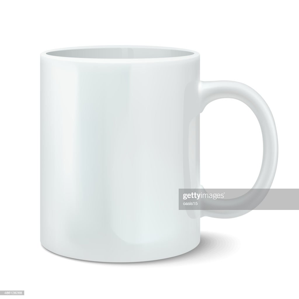 Vector illustration of photorealistic white cup